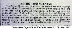 Chemnitzer Tageblatt Nr. 256 vom 23. Oktober 1880, Quelle: Stadtarchiv Chemnitz